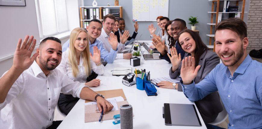 Team happy at work